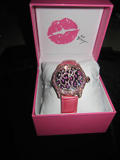 Betsey Johnson rare pink leopard bling watch