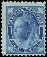 Canada #70 mint F OG DG 1897 Queen Victoria 5c lighter dark blue Maple Leaf