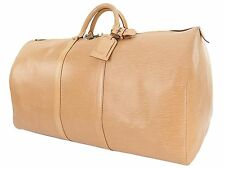 Authentic LOUIS VUITTON Keepall 60 Beige Epi Leather Duffel Bag #25534A
