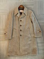 True Vintage Fine Harris Tweed Wool Men's 3/4 Length Herringbone Overcoat L?