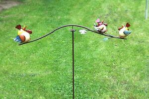 Metall Gartenstecker Windspiel Unruhe Gartenpendel Vögel handbemalt 90 cm breit