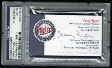 Terry Ryan signed autograph auto Business Card Minnesota Twins GM PSA Slabbed