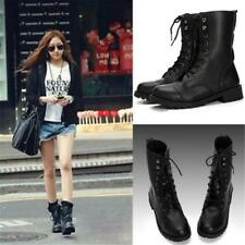 Women Mid Calf Flat PU Leather Martin Boots Lace Up Black Military Winter Shoes