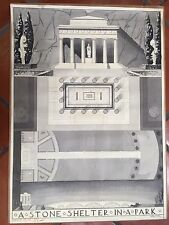 """DOROTHY C O'REILLY  A STONE SHELTER IN THE PARK LITHOGRAPH  28.5"""" X 20.5""""  1937"""