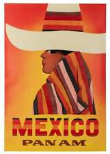Original 1960s Mexico Pan Am Airlines Travel Poster Woman Sombrero Linen Backed
