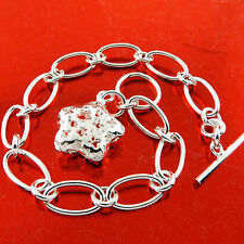 Bracelet Bangle Real 925 Sterling Silver S/F Star Heart Charm Tbar Design
