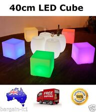 40cm LED Mood Cube Stool With Remote Furniture Party Rechargeable by PK Green