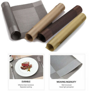 Set of 4/6/8 Table Placemats PVC Non-Slip Foldable Washable Dining Table Mats UK