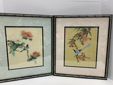 Japanese Original Painting Silk Fabric Framed Flowers Birds Set Of 2