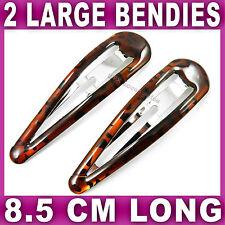 2x Large Hair Clips 8.5cm Long Bendies Sleepy Snaps Sleepies Slides Animal Print
