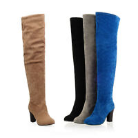 Womens Faux Suede High Heels Platform Over The Knee High Boots Vintage Shoes NEW