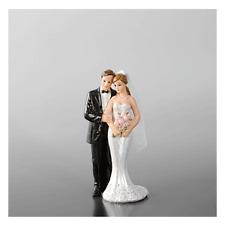 28469 CAKE TOPPER SPOSI CON BOUQUET PER TORTA MATRIMONIO NUZIALE WEDDING CAKE