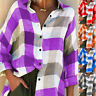 Women's Button Blouse Plaid T Shirts Autumn Long Sleeve Casual Tops Streetwear