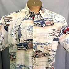 Tori Richard Mens LG SS Shirt Station Wagons 4 Seasons Fishing Skiing Surf EUC