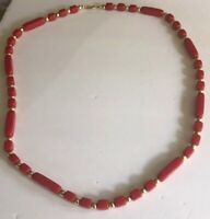 "Vintage Trifari gold tone Red Beaded 24"" Necklace signed costume"