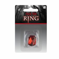 Red Stone Vampire Ring Gothic Silver Jewellery Fancy Dress Accessory Amscan