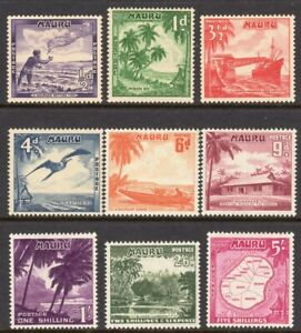 Nauru Scott # 39-47 VF Unused 1954 Local Scenes Complete Set