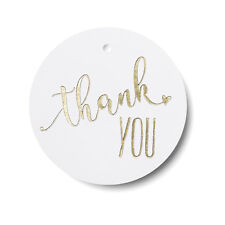 Gold Foil Heart Round Thank You Wedding Favor Tags 25/pk