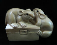 "Lovely - 2 "" Hand carved Japanese Boxwood Netsuke - 2 Mice on Box"