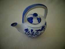 """Blue Willow Style Mini Tea Pot With Lid-3 3/4"""" High-Ceramic"""