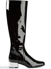 YSL Yves Saint Laurent Babies 40 Runway Boots Glitter Black Patent 37 7