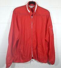 Sears Mens Large Vintage Red Nylon Windbreaker Jacket Hidden Hood Sleeve Pocket