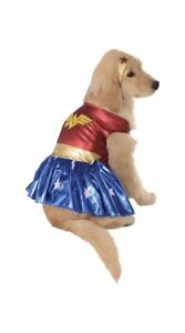 Wonder Woman Deluxe Dog Costume - Blue/Red/Yellow - Large For Halloween