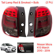 Tail Light Lamp Red & Smoked + Bulb 2 Pc Fit Nissan Micra K13 March 2010 - 2014