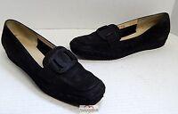 Salvatore Ferragamo Black Nubuck Leather Loafers 8.5 2A Italy
