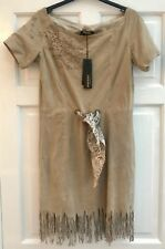 Diesel Black Gold (Small) Donad 100% Suede Leather Fringe Trim Dress (New)