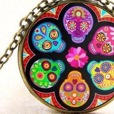 New Cute Sugar Skulls, Pendant Necklace, Rockabilly, Kitsch, Punk Art Jewellery