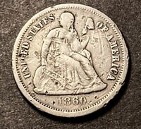 1860 Seated Liberty Dime 10c Semi Key Date Nice Details Obsolete Type Coin