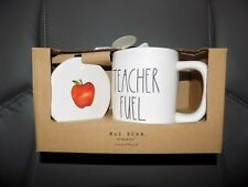 Rae Dunn Teacher Fuel Mug and Coaster Set/Yellow Inside NEW