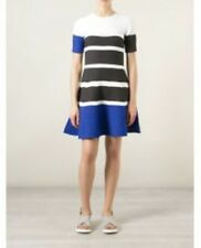Tsumori Chisato Knitted Colorblock Fit N Flare Dress White Blue Black Size 3