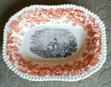 "COPELAND SPODE BEVERLY TRANSFERWARE 10"" x 7-3/8"" x 1-3/4"" SERVING BOWL @1930 ENG"