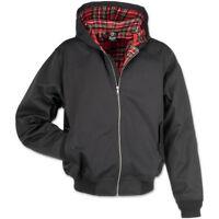 Brandit Lord Canterbury Mens Hooded Jacket English Harrington Tartan Coat  Black 5db74361549e