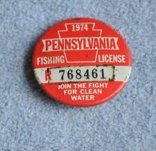 1974 Pa Pennsylvania Resident Citizen's Fishing License Button Pin Badge Vintage