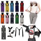 Unisex Mens Womens Clip-on Suspenders Y-Shape Elastic Adjustable Braces Solids