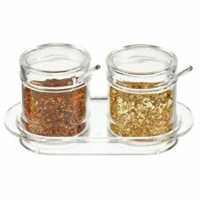 mDesign Plastic Double Seasoning Container, Condiment Jar with Lid/Spoon - Clear
