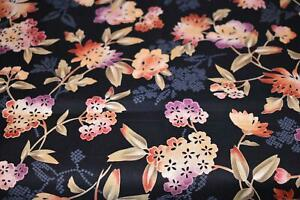 1 Yd Quilt Gate BTY Quilting Fabric Asian Influence Flowers Black Oranges #QG1