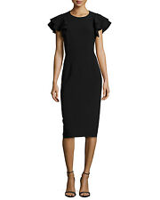 NWT $1.9k Michael Kors Collection Ruffle Italy Wool Sheath Dress 0 black Goop