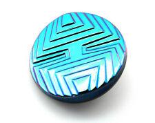 LARGE Vintage Art Deco Geometric Iridescent Blue Depression Glass Sewing Button