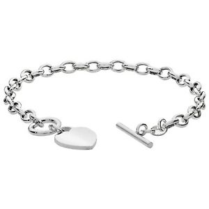 """Silver Bracelet Heart T Bar Rolo Chain 925 Sterling Silver Bracelet 6.5g 7 1/2"""""""