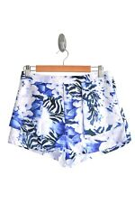 Ice High Waisted Shorts in Blue Floral Preloved - Size Large