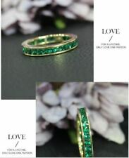 1.20Ct Princess Cut Green Emerald  Eternity Wedding Band Ring 14K Yellow Gold FN