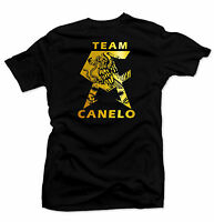 CANELO Men's T-shirt.Mexico flag, Alvarez Boxing Gold Foil.Unisex Black Shirt