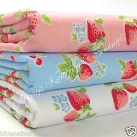 "per half metre pink blue & white strawberries polycotton fabric 44"" wide 112cm"