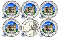 Deutschland 5 x 2 Euro Porta Nigra 2017 Rheinland Pfalz Mzz  A D F G J in Farbe