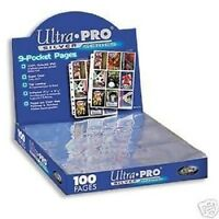 (50) 9 POCKET PAGES ULTRA PRO SILVER CARD Sheets Standard Size Binder 3 Hole