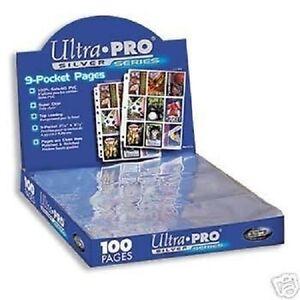 (50) 9 POCKET PAGES ULTRA PRO SILVER CARD Sheets Standard Size Binder 3 Hole